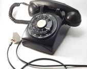 Vintage Black Desk Phone, Western Electric FIW Rotary Dial Telephone