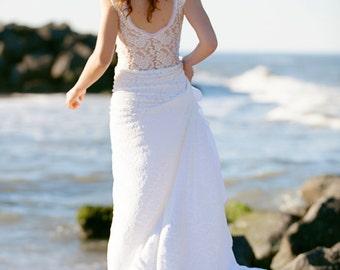 Lace Wedding Gown With Train Sheer Back boho wedding dress- Grazia Gown Custom