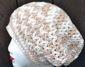 Slouchy Crochet Hat - Cotton Beanie - Mesh Hat - Open Weave - Cream Hat - Summer Fashion - Vegan Friendly