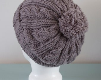 Grey Knit Beanie - Slouchy Hat Grey Pom Pom Cable Merino Wool Unisex Winter Accessory Gift for Him Gift for Her by Emma Dickie Design