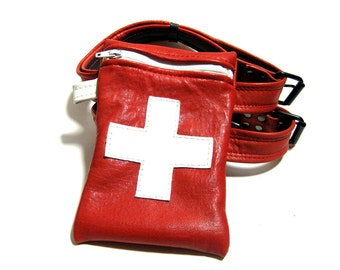 Nurse Doctor Red Leather Thigh Bag