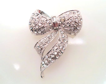 Vintage Clear Rhinestone Ribbon Bow Brooch Rhodium Plated Unsigned PELL