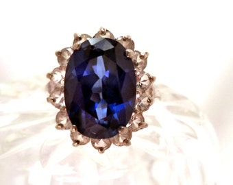 Princess Diana Simulated Sapphire & Diamond Cocktail Ring Sterling