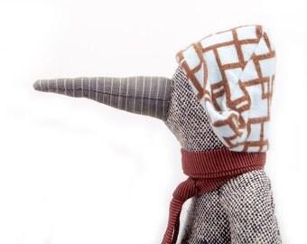Children gift  - bird doll ,eco woven gray pure silk duck doll in brow corduroy & bright blue geometric hat , burgundy scarf - handmade doll