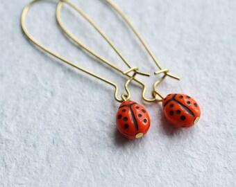 Red Ladybird Earrings ... Ladybug Bug Vintage Glass