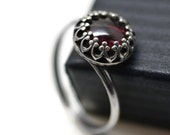 Almandine Garnet Ring, Red Gemstone Ring, Silver Twist Ring, Garnet Cocktail Ring