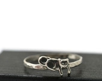 Sterling Silver Kitten Ring, Handmade Sterling Silver Ring, Handforged Animal Ring, Cat Ring