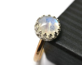 Rainbow Moonstone Ring in 14K Gold Filled & Sterling Silver, Natural Gemstone, Women's Mixed Metal Statement Jewelry