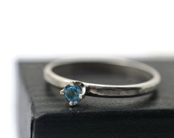 Swiss Blue Topaz Ring, Simple Engagement Ring, Bright Blue Jewel Ring, Dainty Gemstone Ring