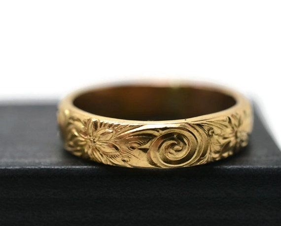 renaissance style band engagement ring 14k gold by fifthheaven