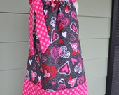 girls valentines day pillowcase dress heart dress sizes 6 month, 12 month, 2T, 3T, 4T