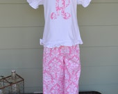Girls Ruffle Pants/capri & tee/onesie in Candy Pink Damask with 1 or 3 letter monogram option custom made by Baby Harrill