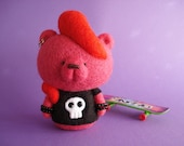 Wicked Roxy Bear_Needle felted Art Toy_Art Bear_ Handmade Bear Toy_Pink Bear- Punk doll_Cute bear_Colectable Toy_Ooak