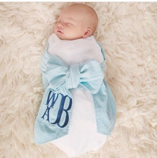 Monogrammed Newborn Swaddle With Bow Personalized