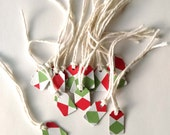 """15 - 7/8"""" x 13/16"""" Tiny Red and Green Holiday Gift Tags or Ornaments, Made Using Repurposed, Recycled Materials"""
