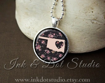 Floral Oklahoma State Necklace, Oklahoma Love Pendant, Pink Oklahoma State Pendant, Oklahoma Gift, OK State