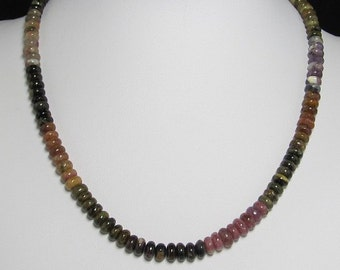 Necklace 19 inch  IN Multicolor Turmaline Rondelle and 925 Silver