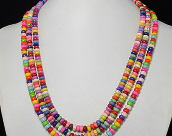 Necklace 18 inch IN 3 rows Multicolor Turquoise Beads