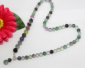 Necklace 19 inch IN Fluorite faceted and 925 Silver