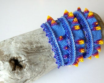 Nudibranch wrap bracelet - inspired by Contemporary Geometric Beadwork