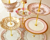 1 High Tea for Alice Pink & Gold Vintage China 3 Tier Cupcake Stand or Jewelry Holder Display for Wedding Centerpiece, Birthday Tea, Shower