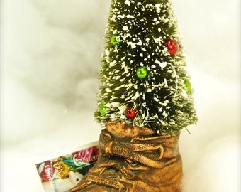 Baby's 1st Christmas-Old Copper BABY SHOE with Christmas Tree Decoration-Holiday Tabletop Decor