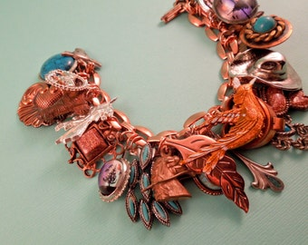 Copper Cowgirl Repurposed Vintage Jewelry One of a Kind Charm Bracelet