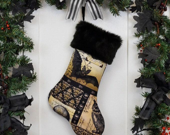 Nevermore Gothic Black Bat Christmas Stocking, Black Faux Fur, Black Brown Patchwork Print, Black Canvas Liner, Halloween Stocking