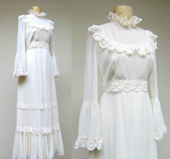 Vintage 1970s Wedding Gown / 70s Ivory Lace Boho Neo-Victorian Maxi ...