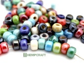Glass Pony Beads, 9mm Assorted Luster Color Rainbow Glass Crow Rollers, 50pc