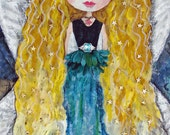 "ACEO, Mixed Media Art Print, Whimsical Art print, Inspirational Art print, Wall Art, Fairy Magic, ""WATER FAIRY"