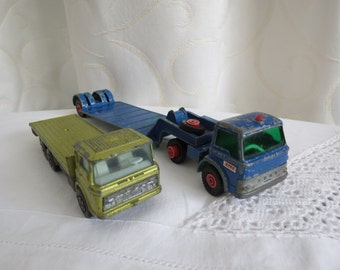 Vintage Lot of 2 Lesney Matchbox Super Kings and King Size Building Transporter and Ford Tractor Trucks Model Collectible Cars