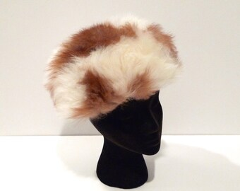 Cream and Brown Fur Hat Vintage Fur Pill Box Hat Snow Bunny Cap Fluffy Winter Hat 1960s 1950s Shearling Lining Glam Ski Lodge