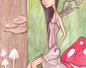 Forest Sprite, faerie artwork, big eyed girl, print, toadstools, mushrooms, forest fairy, brown and green, red shroom