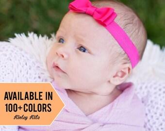 Baby Headbands, Set of 4 Small Baby Bowtie Headbands, 100+ Colors, Newborn Headband, Newborn Headband, Bow Headband, pink headband