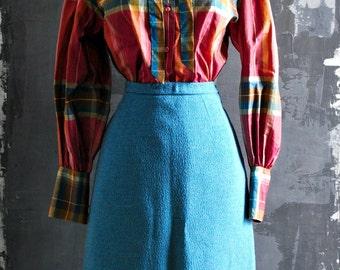 50s Vintage Light Blue Wool Pencil Skirt