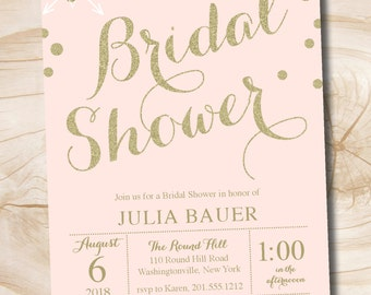 Pink and Gold glitter confetti Bridal Shower Invitation - Printable digital file or printed invitations