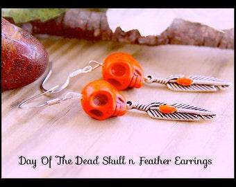 Skull  Earrings, Day of the Dead Earrings ,Handmade By: Tranquilityy