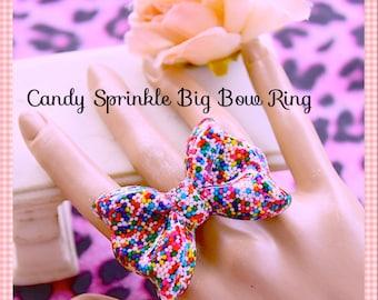 Sprinkle Ring , Delish Real Sprinkles Adjustable Jumbo Bow Resin Ring , Kawaii, Scene , Birthday, Photos, Lolita  By: Tranquilityy