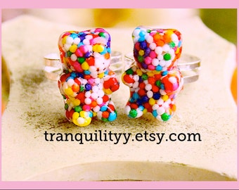 Gummy Bears Candy Sprinkle Resin Ring , Birthday Party , Child , Girls , Teens By: Tranquilityy