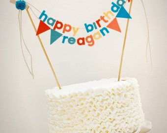 items similar to fabric cake banner personalized blue felt on cake happy birthday banner