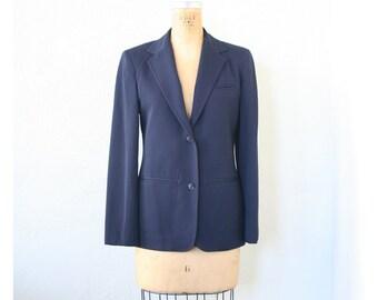vintage classic 1980s navy blue blazer - ladies school boy blazer / school girl jacket - 80s preppy blazer / three season wool blazer