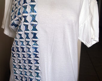 White Color Swirl Ripped T Shirt