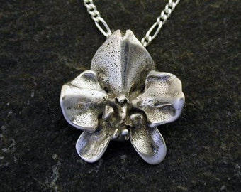 Sterling Silver Original Phalanopsis Orchid Pendant on a Sterling Silver Chain