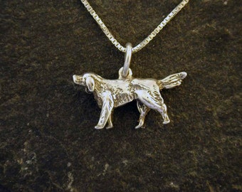 Sterling Silver Setter Dog Pendant on a Sterling Silver Chain