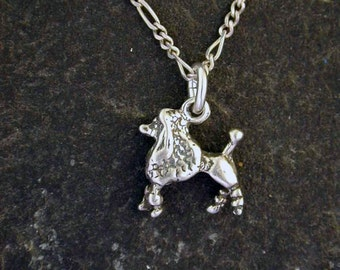 Sterling Silver Poodle Dog Pendant on Sterling Silver Chain.