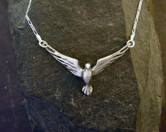 Sterling Silver Dove Bird Pendant on a Sterling Silver Chain
