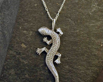 Sterling Silver Lizard Pendant on Sterling Silver Chain.