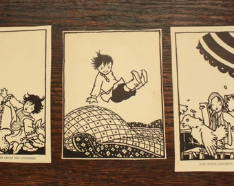 Vintage Children's Book Pages ~ Black and White Ephemera Great for Framing