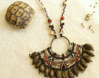 Macrame necklace OOAK native american inca tribal natural seed necklace beaded with Carnelian gemstone beads